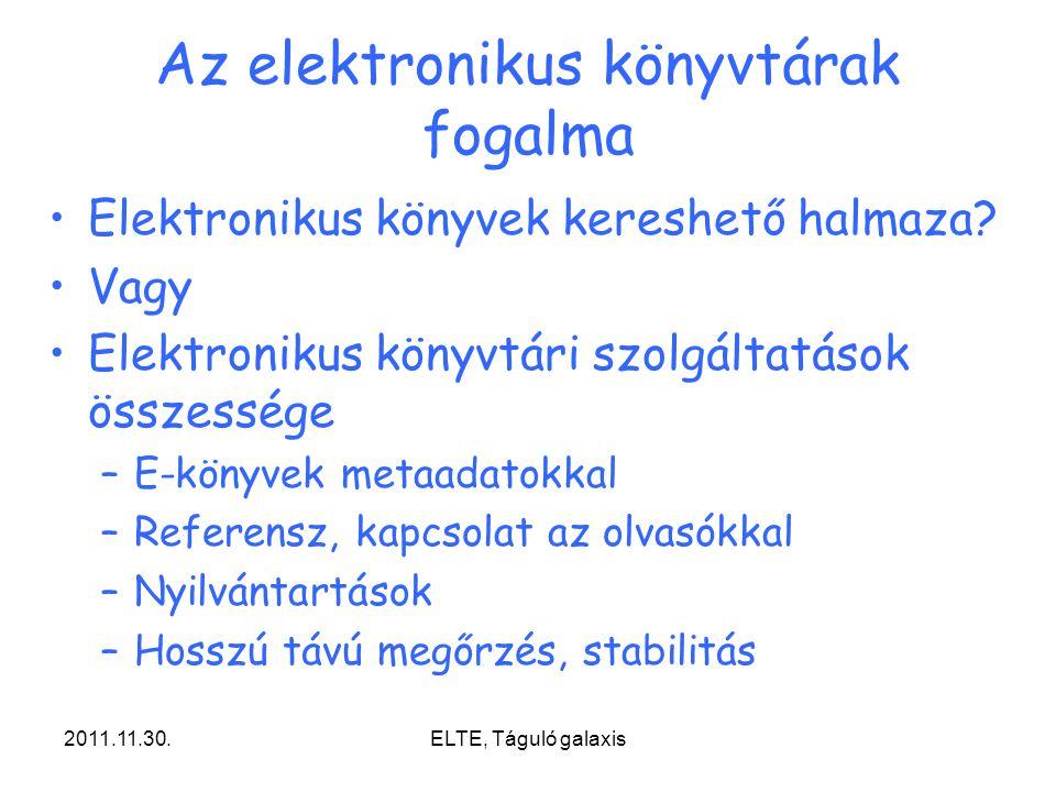 2011.11.30.ELTE, Táguló galaxis Az elektronikus könyvtárak fogalma Elektronikus könyvek kereshető halmaza? Vagy Elektronikus könyvtári szolgáltatások