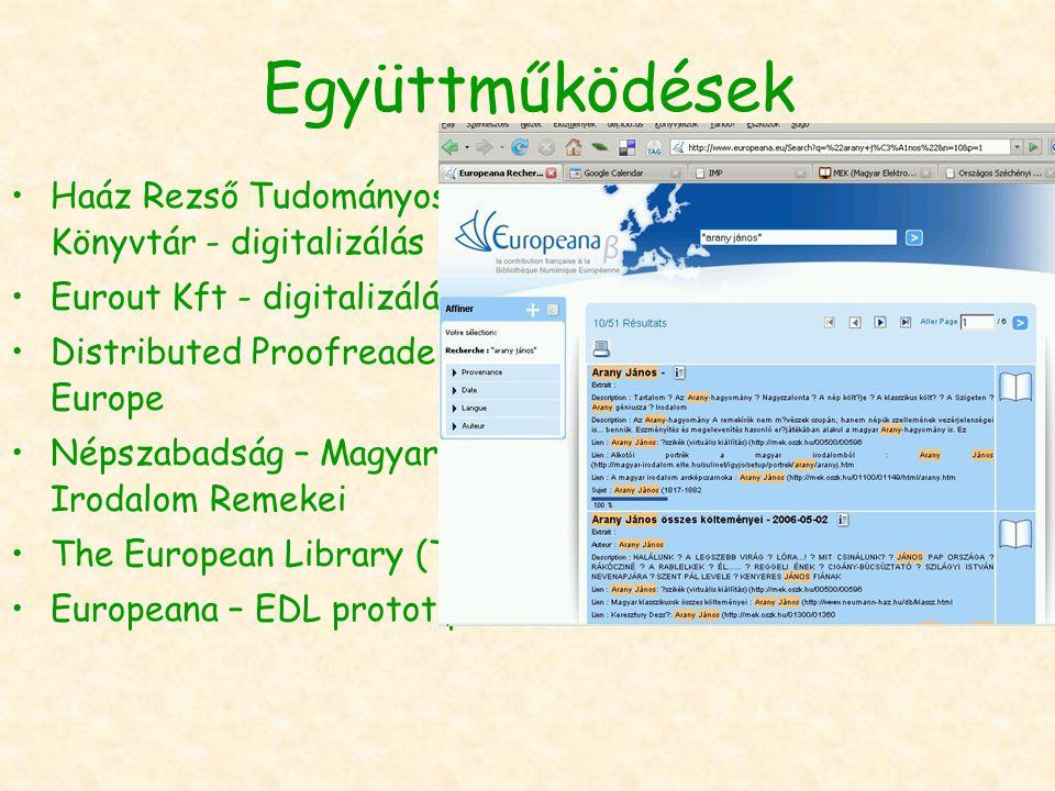 Együttműködések Haáz Rezső Tudományos Könyvtár - digitalizálás Eurout Kft - digitalizálás Distributed Proofreaders Europe Népszabadság – Magyar Irodalom Remekei The European Library (TEL) Europeana – EDL prototípus