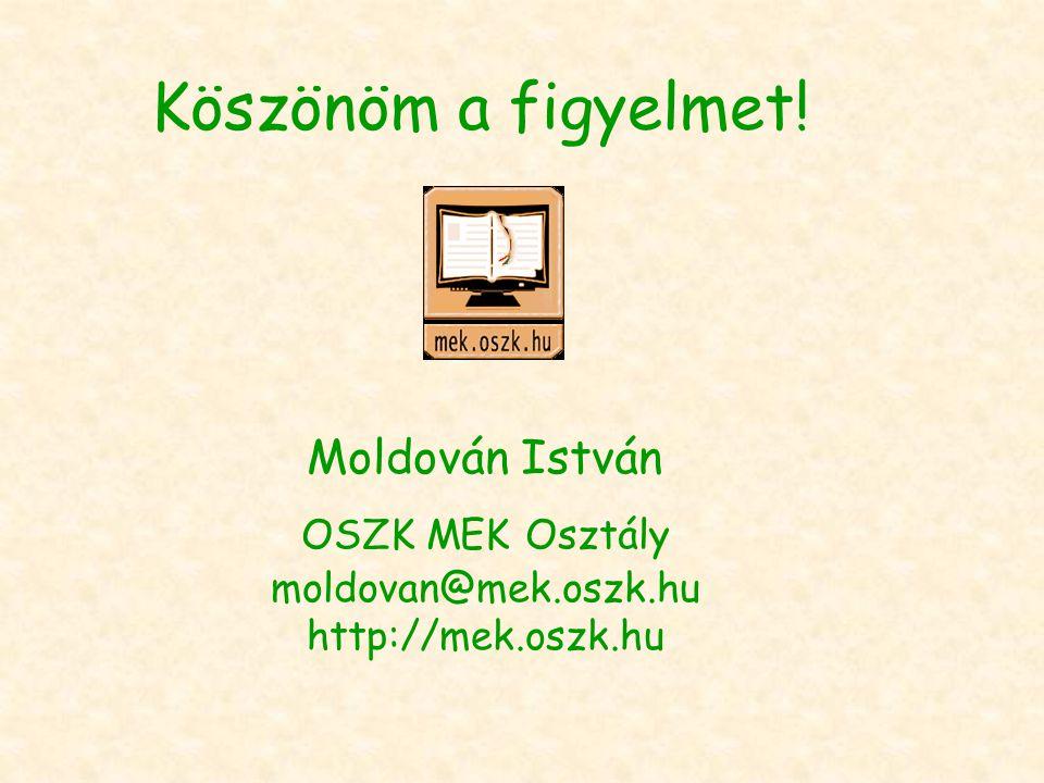 Köszönöm a figyelmet! Moldován István OSZK MEK Osztály moldovan@mek.oszk.hu http://mek.oszk.hu
