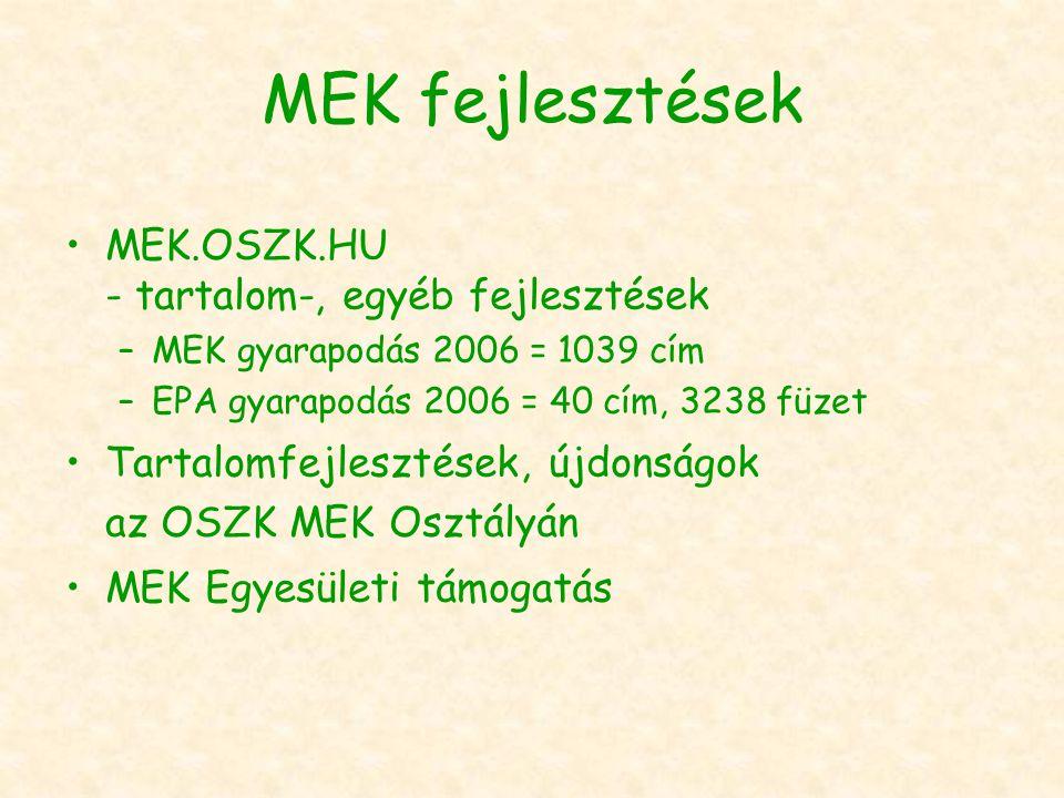 MEK fejlesztések MEK.OSZK.HU - tartalom-, egyéb fejlesztések –MEK gyarapodás 2006 = 1039 cím –EPA gyarapodás 2006 = 40 cím, 3238 füzet Tartalomfejlesztések, újdonságok az OSZK MEK Osztályán MEK Egyesületi támogatás