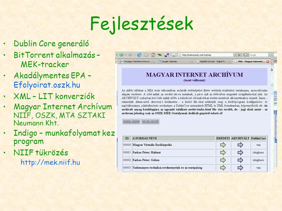 Fejlesztések Dublin Core generáló BitTorrent alkalmazás – MEK-tracker Akadálymentes EPA – Efolyoirat.oszk.hu XML – LIT konverziók Magyar Internet Archívum NIIF, OSZK, MTA SZTAKI Neumann Kht.