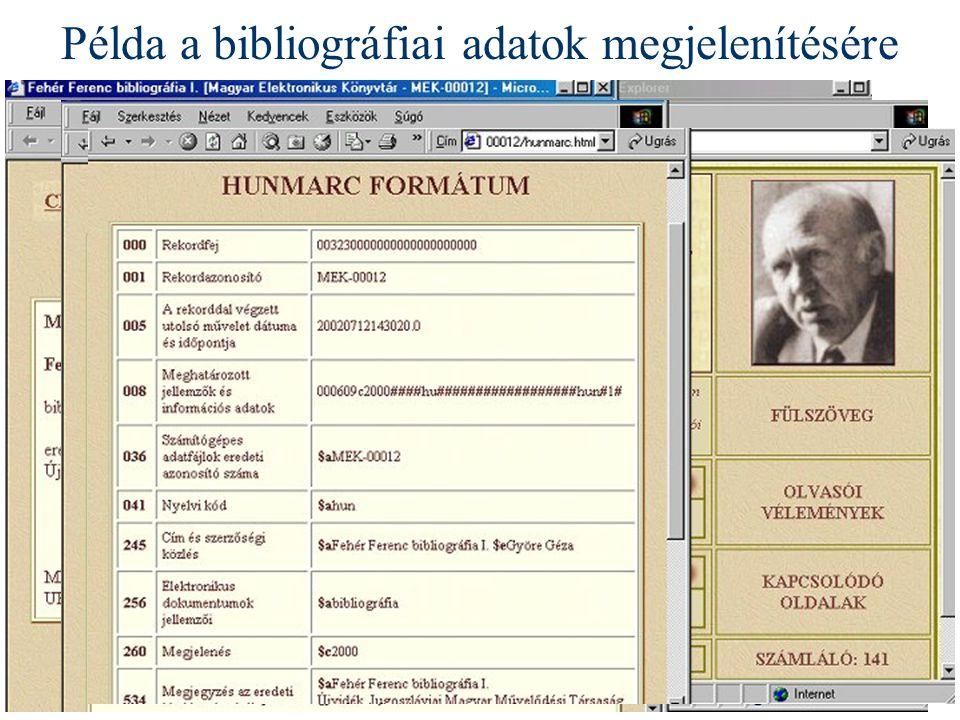 Példa a bibliográfiai adatok megjelenítésére