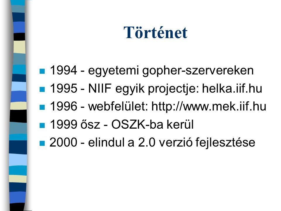 Történet n 1994 - egyetemi gopher-szervereken n 1995 - NIIF egyik projectje: helka.iif.hu n 1996 - webfelület: http://www.mek.iif.hu n 1999 ősz - OSZK-ba kerül n 2000 - elindul a 2.0 verzió fejlesztése