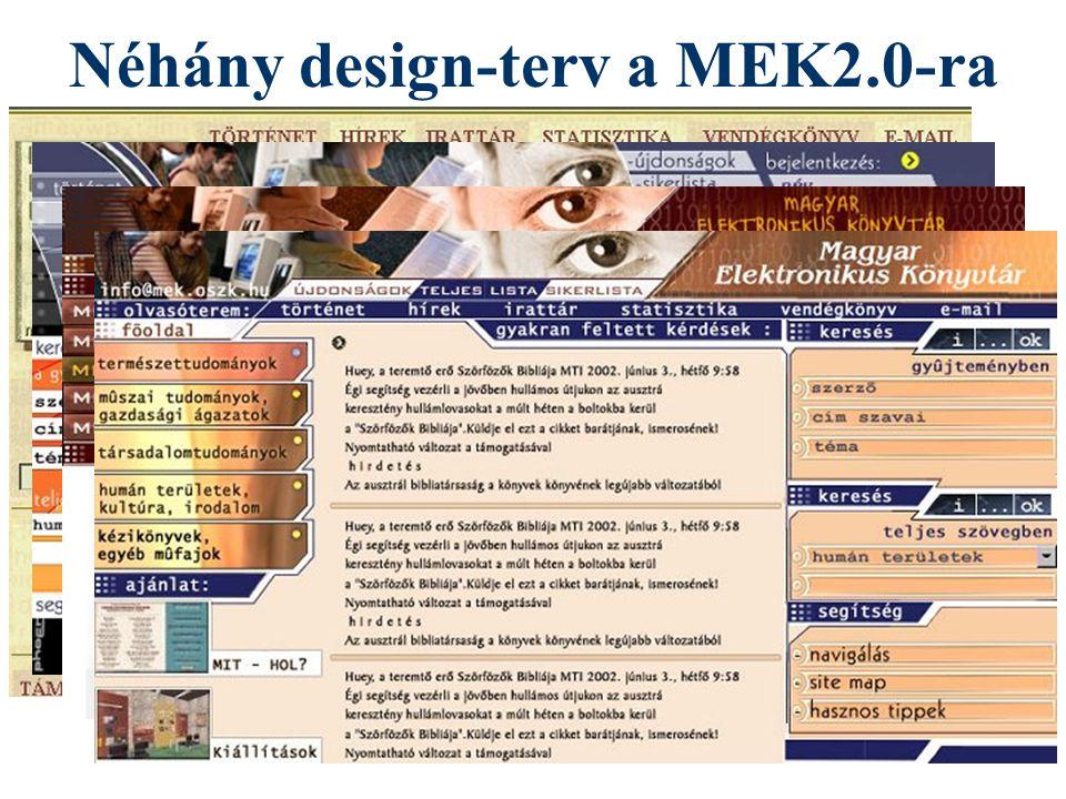 Néhány design-terv a MEK2.0-ra