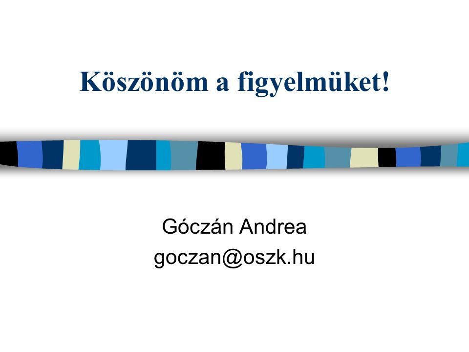 Köszönöm a figyelmüket! Góczán Andrea goczan@oszk.hu