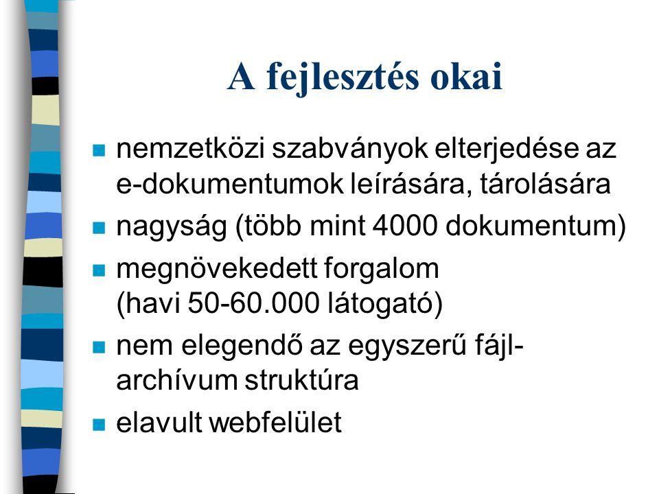 A fejlesztés okai n nemzetközi szabványok elterjedése az e-dokumentumok leírására, tárolására n nagyság (több mint 4000 dokumentum) n megnövekedett forgalom (havi 50-60.000 látogató) n nem elegendő az egyszerű fájl- archívum struktúra n elavult webfelület