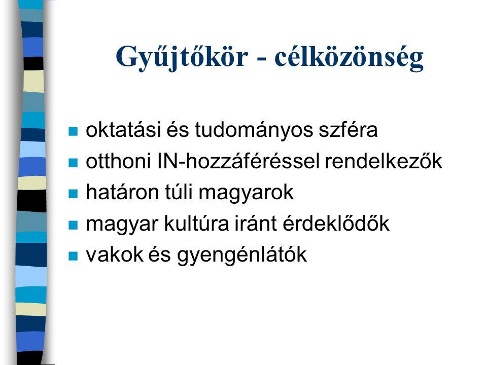 Gyűjtőkör - célközönség n oktatási és tudományos szféra n otthoni IN-hozzáféréssel rendelkezők n határon túli magyarok n magyar kultúra iránt érdeklődők n vakok és gyengénlátók