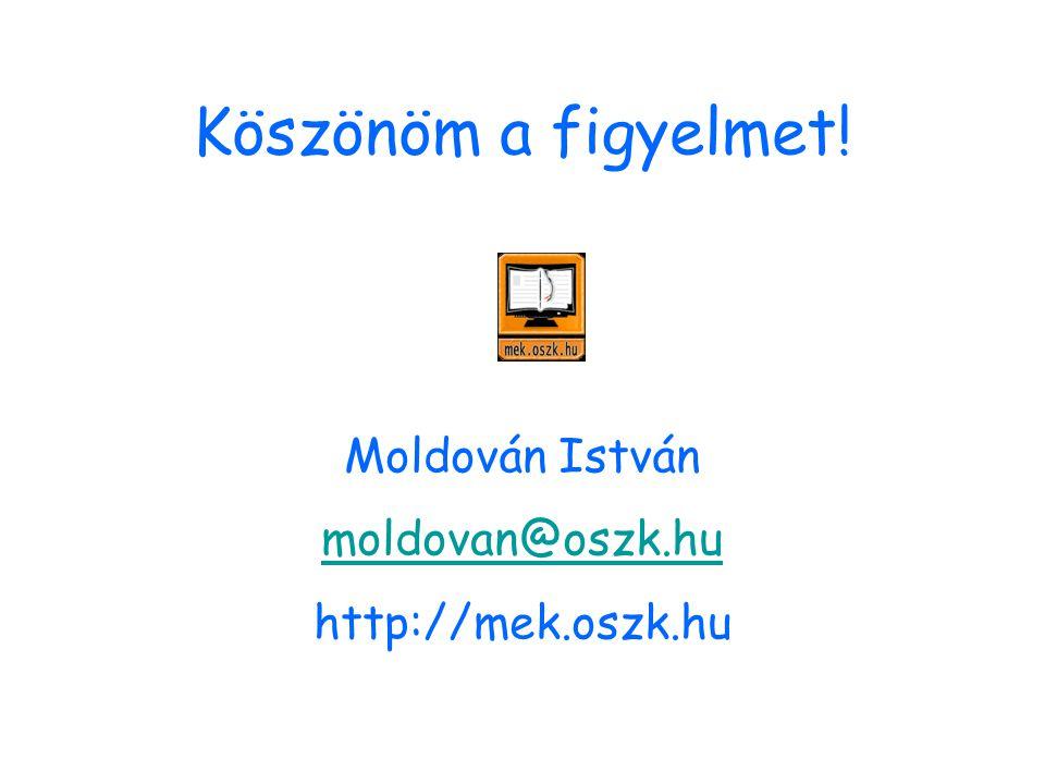 Köszönöm a figyelmet! Moldován István moldovan@oszk.hu http://mek.oszk.hu