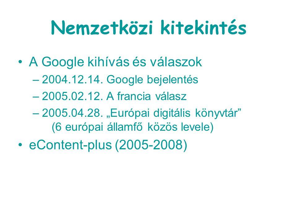 """Nemzetközi kitekintés A Google kihívás és válaszok –2004.12.14. Google bejelentés –2005.02.12. A francia válasz –2005.04.28. """"Európai digitális könyvt"""