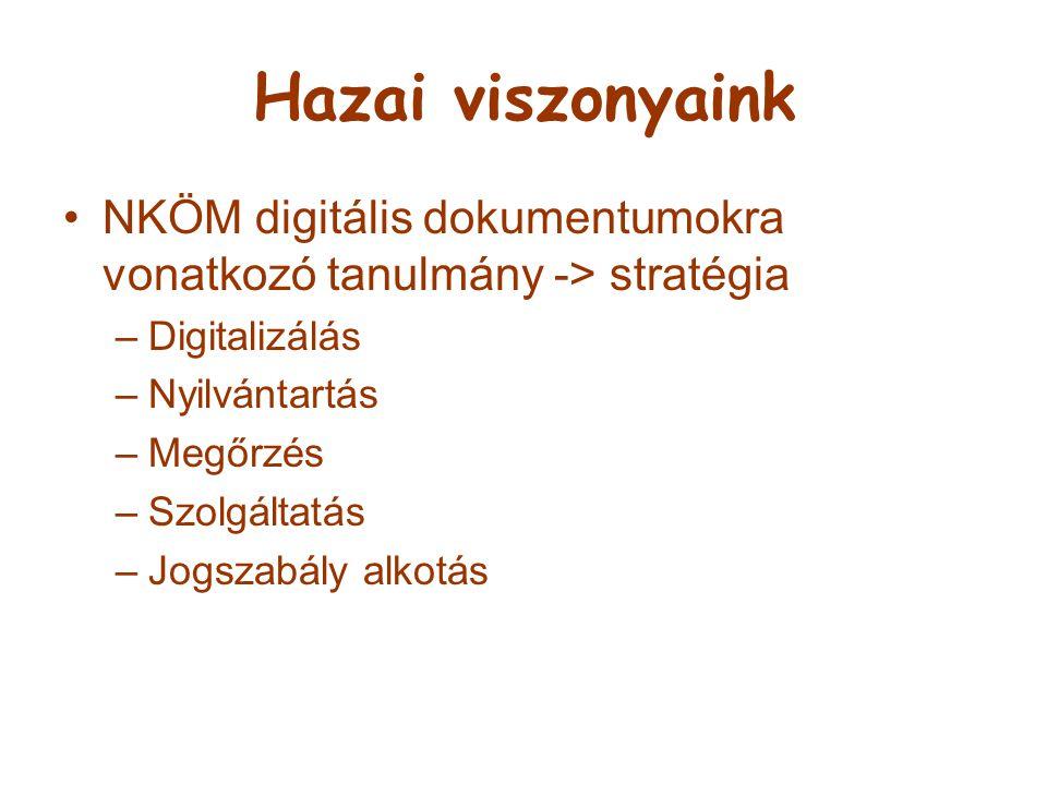 Hazai viszonyaink NKÖM digitális dokumentumokra vonatkozó tanulmány -> stratégia –Digitalizálás –Nyilvántartás –Megőrzés –Szolgáltatás –Jogszabály alk