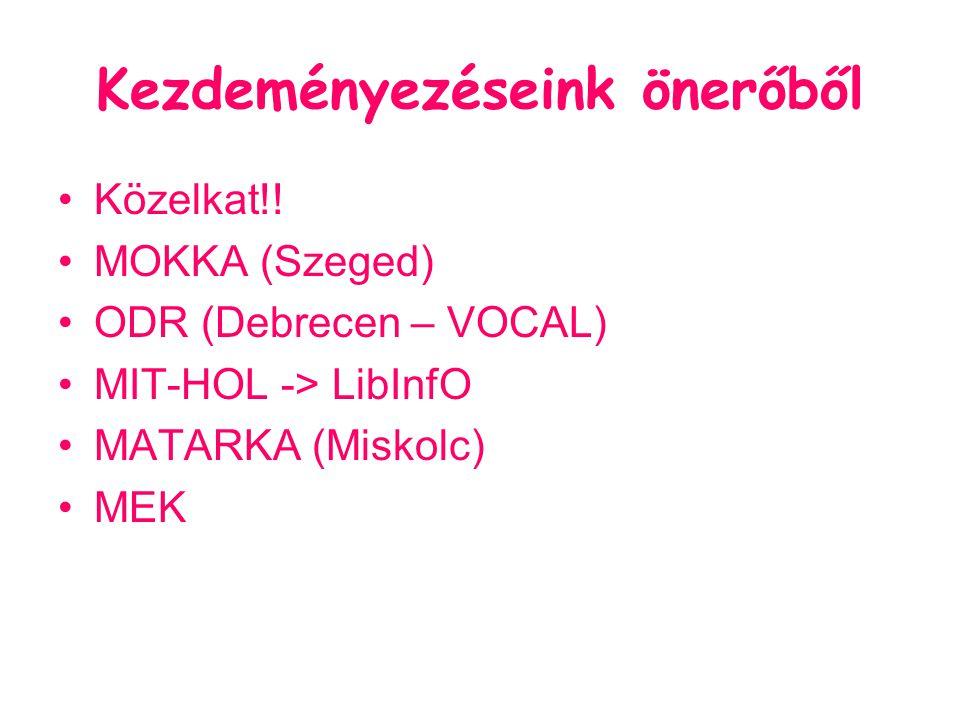 Kezdeményezéseink önerőből Közelkat!! MOKKA (Szeged) ODR (Debrecen – VOCAL) MIT-HOL -> LibInfO MATARKA (Miskolc) MEK