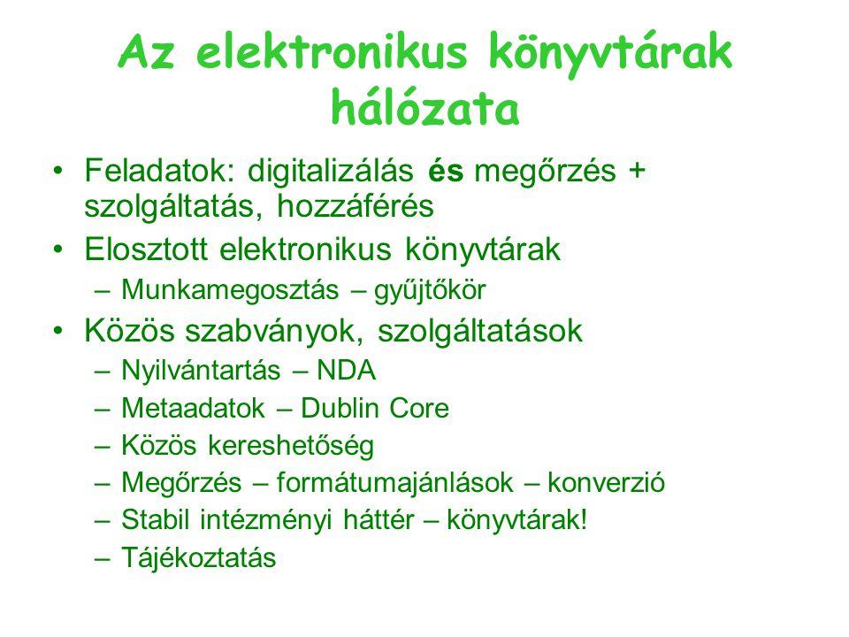 Az elektronikus könyvtárak hálózata Feladatok: digitalizálás és megőrzés + szolgáltatás, hozzáférés Elosztott elektronikus könyvtárak –Munkamegosztás