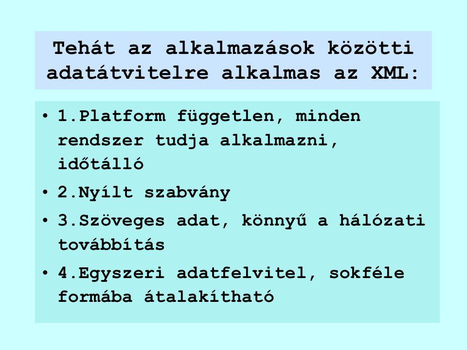 Tehát az alkalmazások közötti adatátvitelre alkalmas az XML: 1.Platform független, minden rendszer tudja alkalmazni, időtálló 2.Nyílt szabvány 3.Szöveges adat, könnyű a hálózati továbbítás 4.Egyszeri adatfelvitel, sokféle formába átalakítható