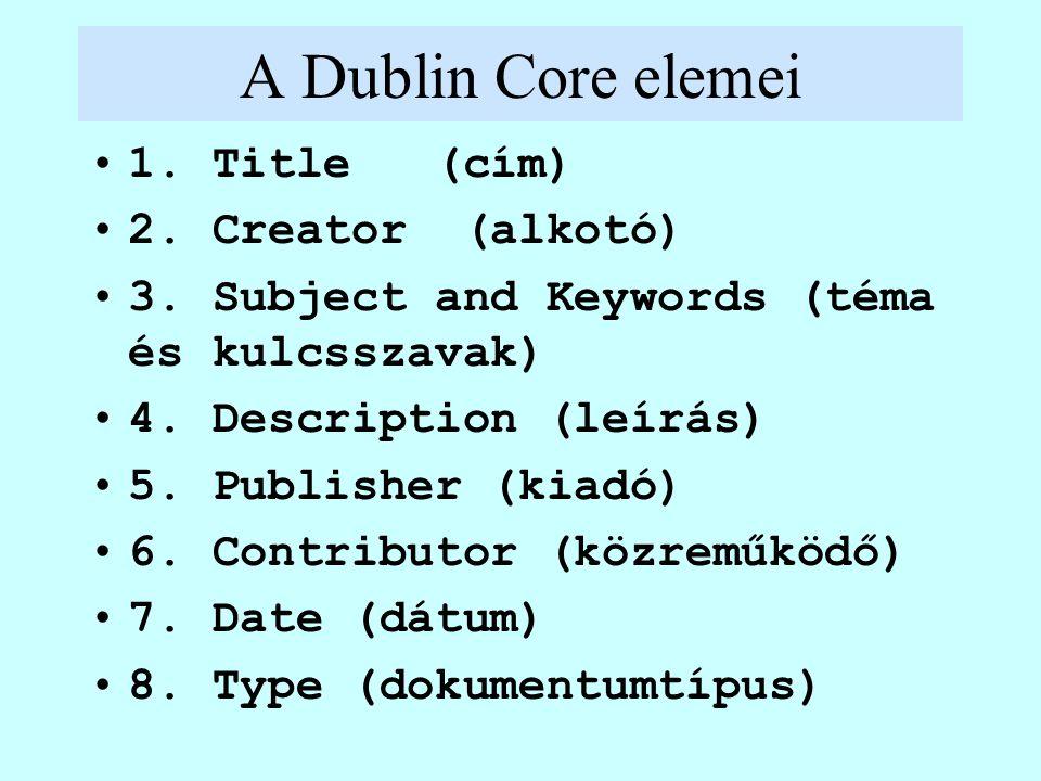 A Dublin Core elemei 1. Title (cím) 2. Creator (alkotó) 3. Subject and Keywords (téma és kulcsszavak) 4. Description (leírás) 5. Publisher (kiadó) 6.