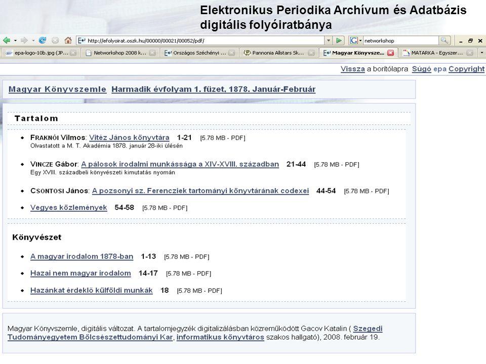 Elektronikus Periodika Archívum és Adatbázis digitális folyóiratbánya