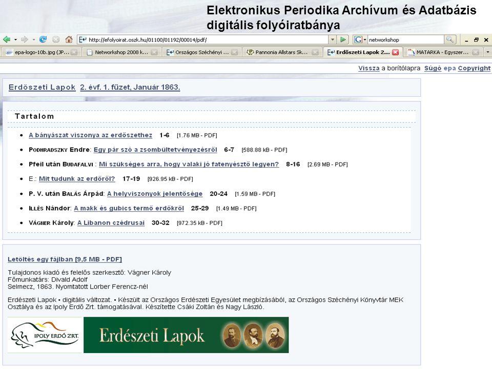 epa-info@mek.oszk.hu Digitális Könyvtári Füzetek I. Köszönöm a figyelmet!