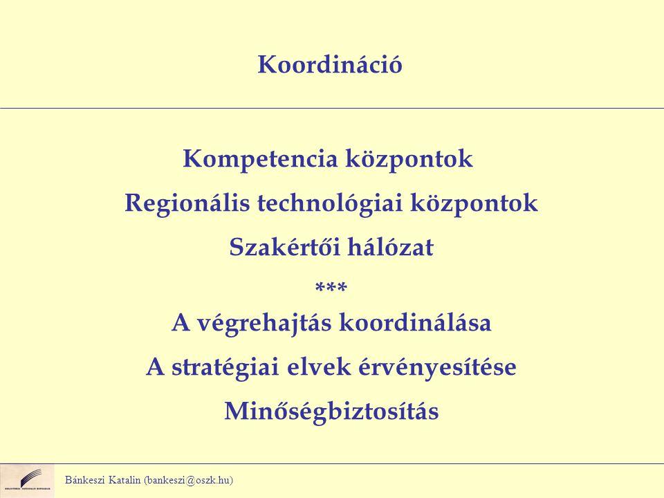 Bánkeszi Katalin (bankeszi@oszk.hu) Koordináció Kompetencia központok Regionális technológiai központok Szakértői hálózat *** A végrehajtás koordinálása A stratégiai elvek érvényesítése Minőségbiztosítás