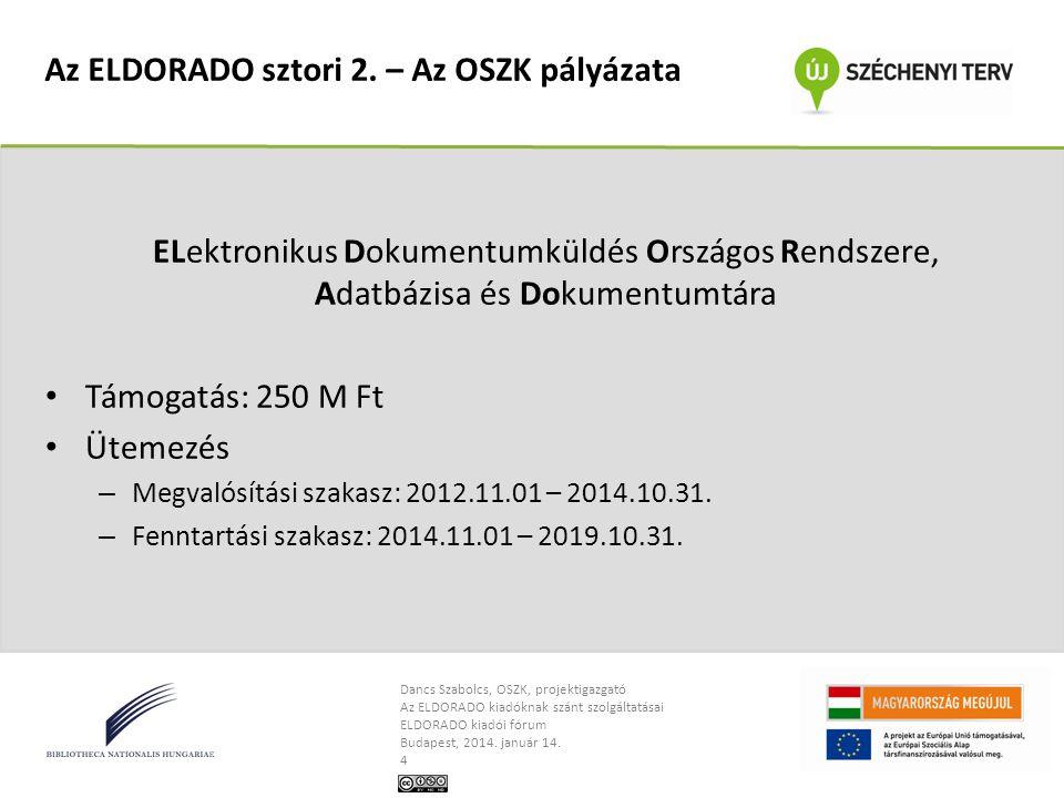 Dancs Szabolcs, OSZK, projektigazgató Az ELDORADO kiadóknak szánt szolgáltatásai ELDORADO kiadói fórum Budapest, 2014.