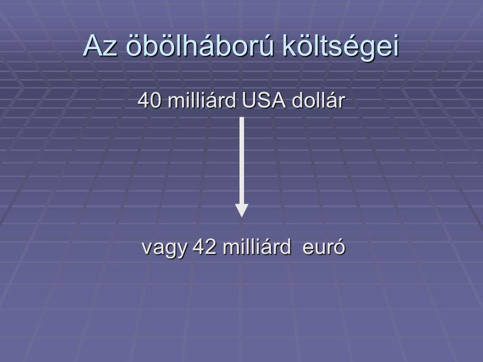 Az öbölháború költségei 40 milliárd USA dollár vagy 42 milliárd euró