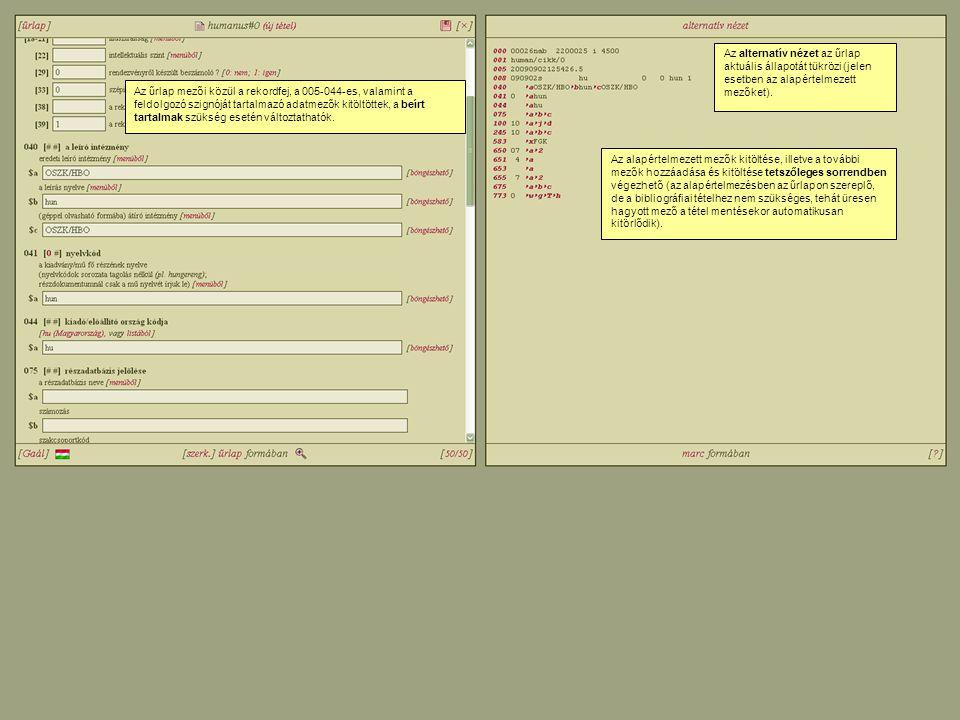 Vonatkozó szabványok és példák Jelenleg: KSZ/4.1 HUNMARC.