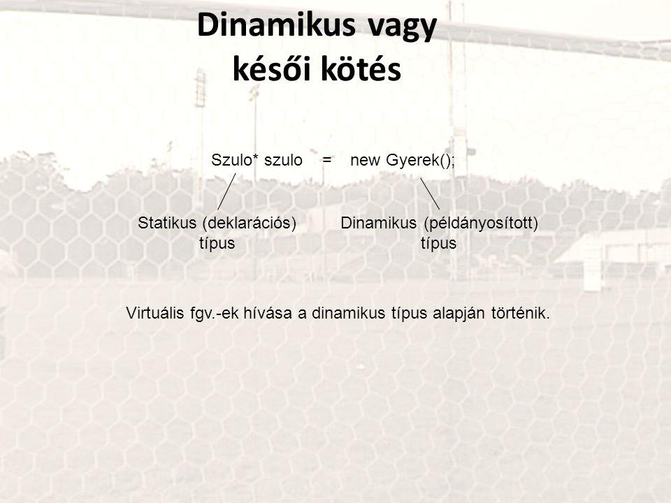 Dinamikus vagy késői kötés Szulo* szulo = new Gyerek(); Statikus (deklarációs) típus Dinamikus (példányosított) típus Virtuális fgv.-ek hívása a dinam