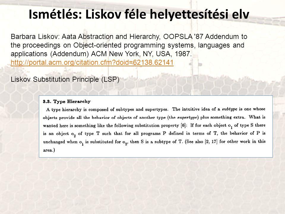 Ismétlés: Liskov féle helyettesítési elv Barbara Liskov: Aata Abstraction and Hierarchy, OOPSLA '87 Addendum to the proceedings on Object-oriented pro