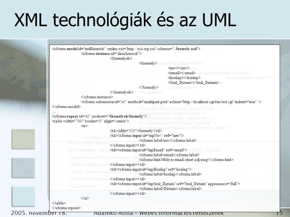 2005. november 18.Adamkó Attila - Webes Információs rendszerek fejlesztése 15 XML technológiák és az UML UML osztály diagram XML Schema Adatbázis séma