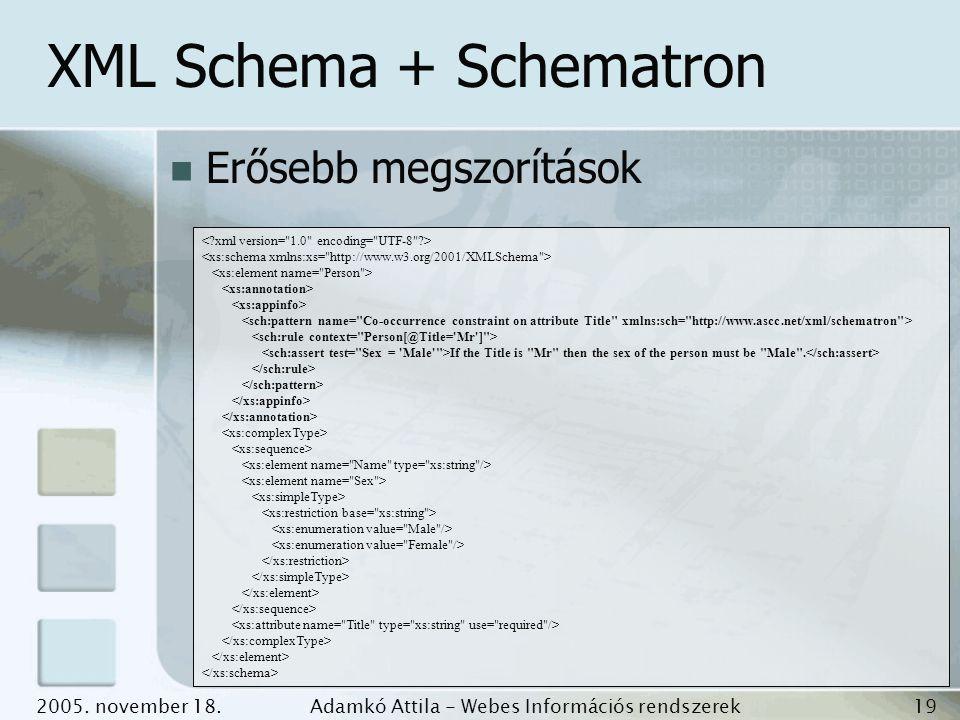 2005. november 18.Adamkó Attila - Webes Információs rendszerek fejlesztése 19 XML Schema + Schematron Erősebb megszorítások If the Title is