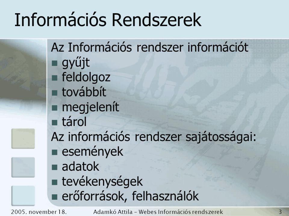 2005. november 18.Adamkó Attila - Webes Információs rendszerek fejlesztése 3 Információs Rendszerek Az Információs rendszer információt gyűjt feldolgo