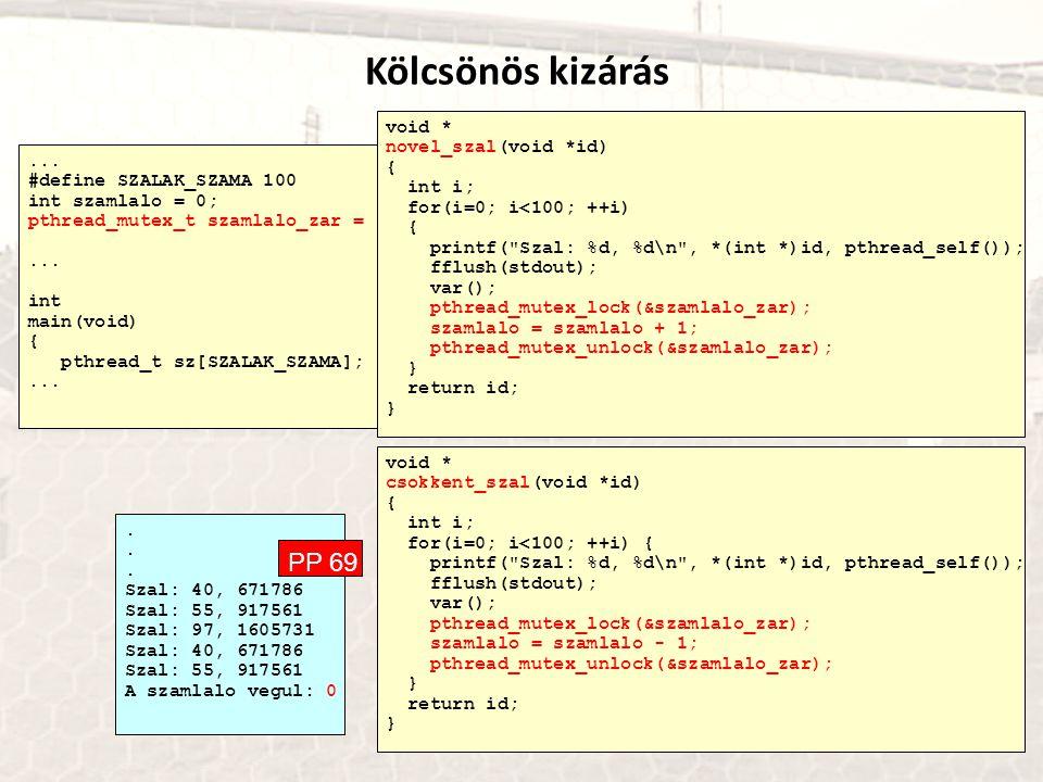 ... #define SZALAK_SZAMA 100 int szamlalo = 0; pthread_mutex_t szamlalo_zar = PTHREAD_MUTEX_INITIALIZER;... int main(void) { pthread_t sz[SZALAK_SZAMA