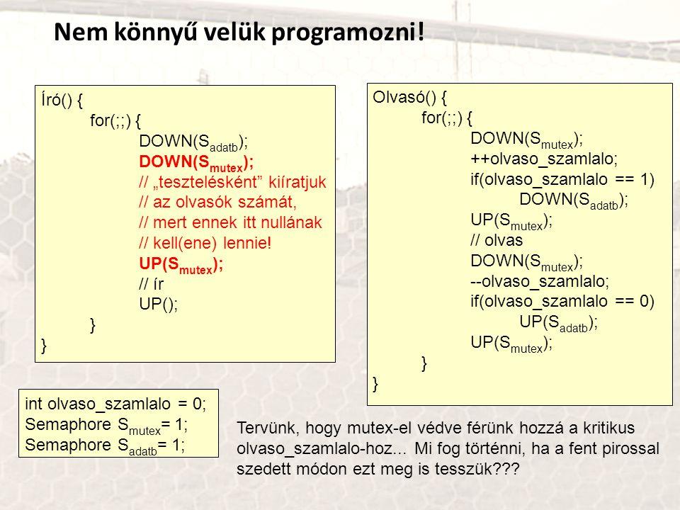Nem könnyű velük programozni! int olvaso_szamlalo = 0; Semaphore S mutex = 1; Semaphore S adatb = 1; Író() { for(;;) { DOWN(S adatb ); DOWN(S mutex );