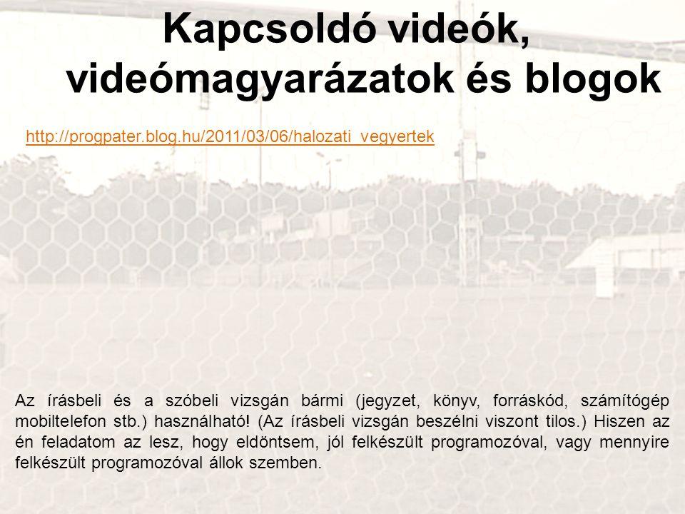 Kapcsoldó videók, videómagyarázatok és blogok http://progpater.blog.hu/2011/03/06/halozati_vegyertek Az írásbeli és a szóbeli vizsgán bármi (jegyzet, könyv, forráskód, számítógép mobiltelefon stb.) használható.