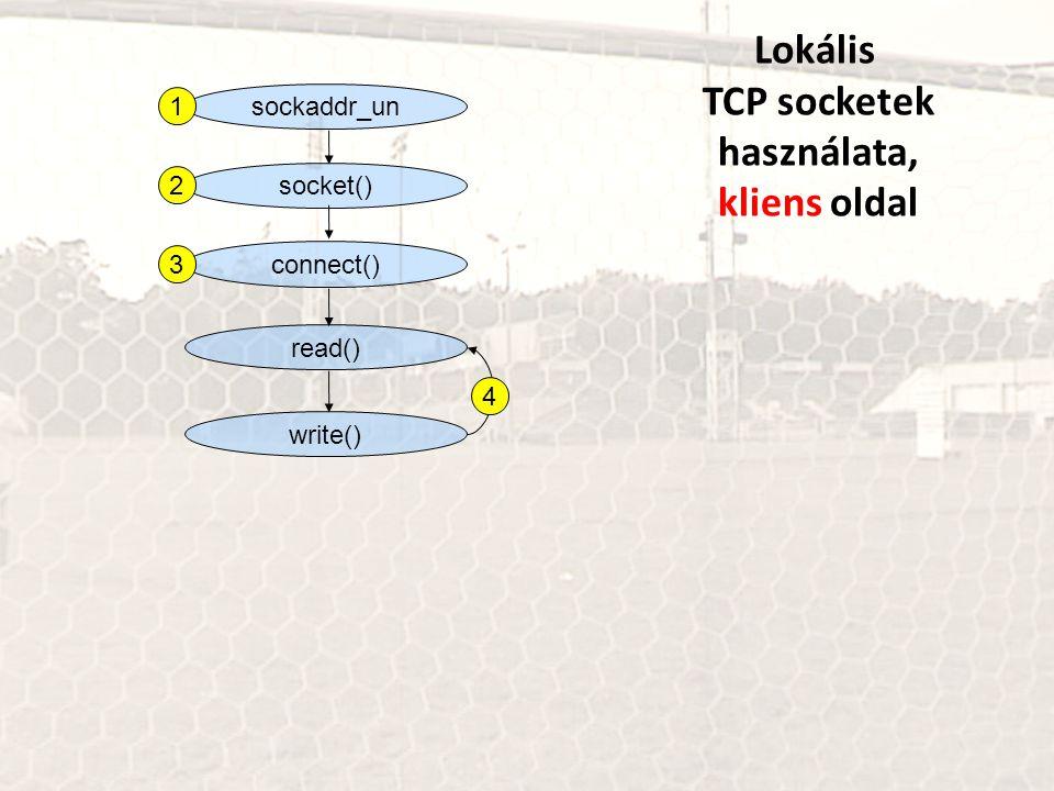 sockaddr_un Lokális TCP socketek használata, kliens oldal socket() connect() read() write() 1 2 3 4