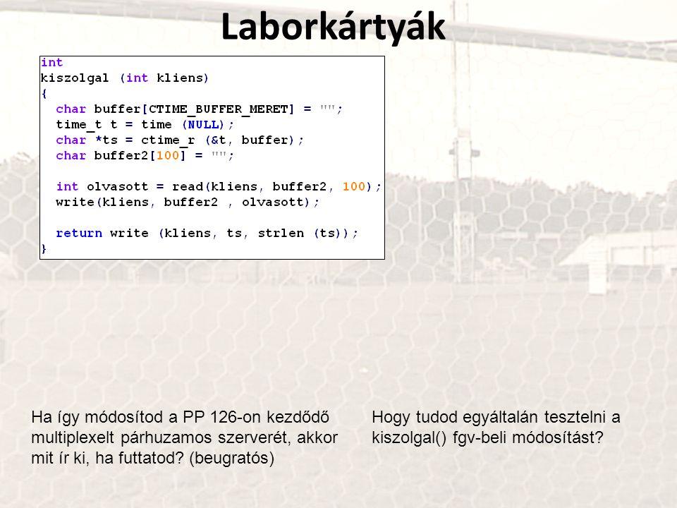 Laborkártyák Ha így módosítod a PP 126-on kezdődő multiplexelt párhuzamos szerverét, akkor mit ír ki, ha futtatod? (beugratós) Hogy tudod egyáltalán t