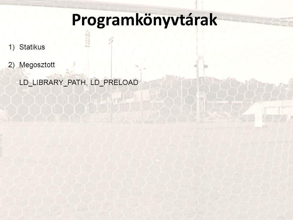 Programkönyvtárak 1)Statikus 2)Megosztott LD_LIBRARY_PATH, LD_PRELOAD