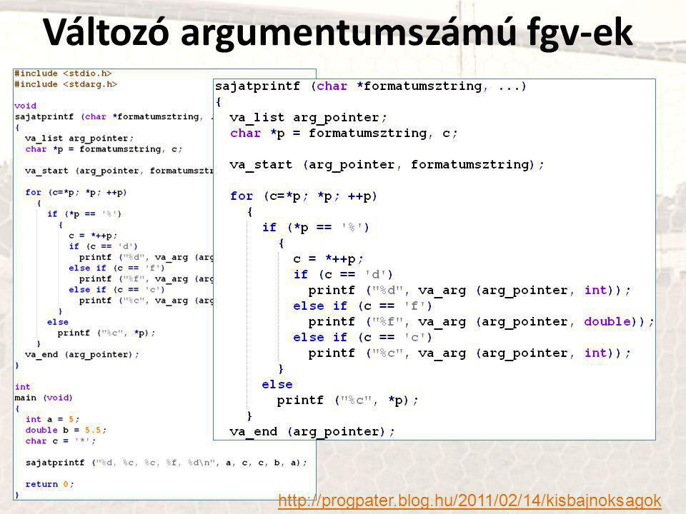 Változó argumentumszámú fgv-ek http://progpater.blog.hu/2011/02/14/kisbajnoksagok