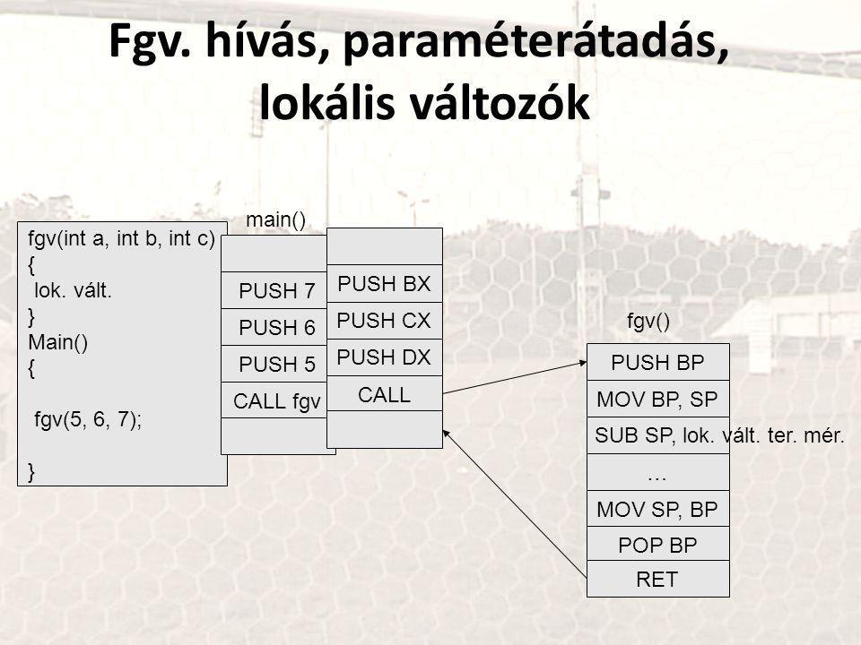 Fgv. hívás, paraméterátadás, lokális változók fgv(int a, int b, int c) { lok.