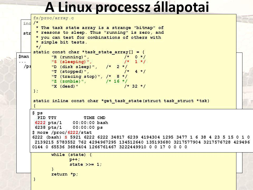 A Linux processz állapotai include/linux/sched.h struct task_struct { volatile long state;/* -1 unrunnable, 0 runnable, >0 stopped */... /* * Task sta