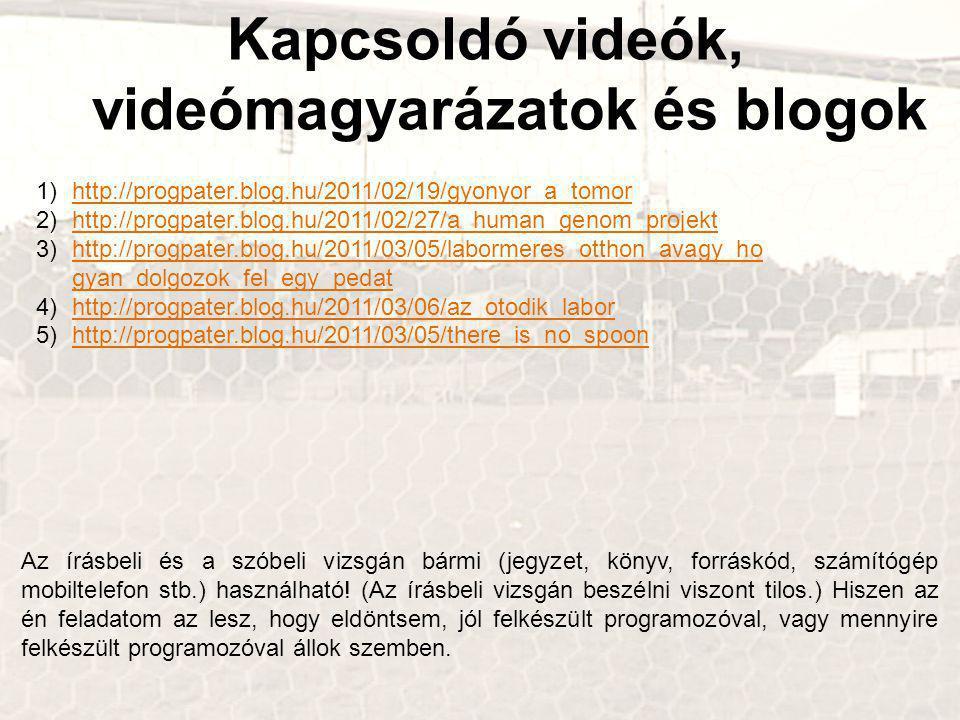 Kapcsoldó videók, videómagyarázatok és blogok 1)http://progpater.blog.hu/2011/02/19/gyonyor_a_tomorhttp://progpater.blog.hu/2011/02/19/gyonyor_a_tomor 2)http://progpater.blog.hu/2011/02/27/a_human_genom_projekthttp://progpater.blog.hu/2011/02/27/a_human_genom_projekt 3)http://progpater.blog.hu/2011/03/05/labormeres_otthon_avagy_ho gyan_dolgozok_fel_egy_pedathttp://progpater.blog.hu/2011/03/05/labormeres_otthon_avagy_ho gyan_dolgozok_fel_egy_pedat 4)http://progpater.blog.hu/2011/03/06/az_otodik_laborhttp://progpater.blog.hu/2011/03/06/az_otodik_labor 5)http://progpater.blog.hu/2011/03/05/there_is_no_spoonhttp://progpater.blog.hu/2011/03/05/there_is_no_spoon Az írásbeli és a szóbeli vizsgán bármi (jegyzet, könyv, forráskód, számítógép mobiltelefon stb.) használható.