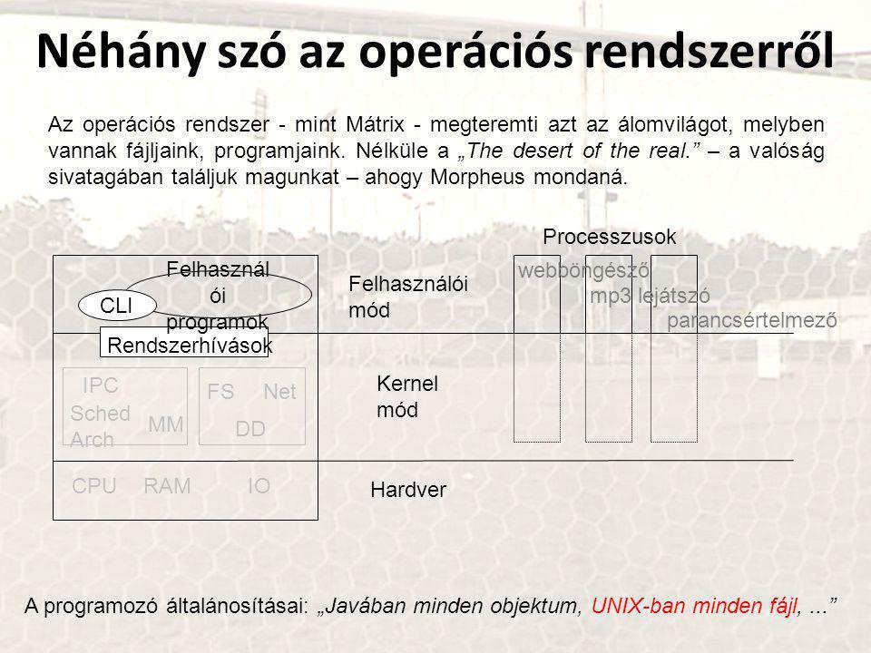 """Néhány szó az operációs rendszerről A programozó általánosításai: """"Javában minden objektum, UNIX-ban minden fájl,... Az operációs rendszer - mint Mátrix - megteremti azt az álomvilágot, melyben vannak fájljaink, programjaink."""