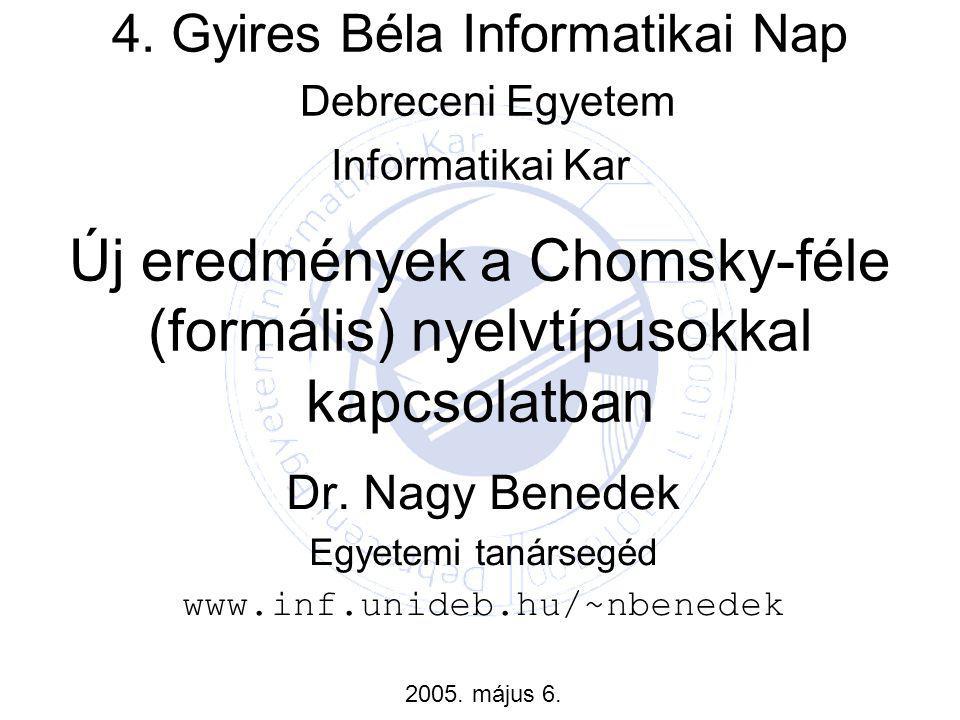 """Témaválasztás Digitális geometria (PhD disszertáció) –Szomszédsági sorozatok különböző rácsokon Logikai fejtörők –Speciális típusok, gráfreprezentáció, megoldás a gráf segítségével Nem klasszikus """"számítógépek –Biológiailag motivált gépek (DNS, membrán) –Intervallum-értékű számítógép Formális nyelvek és automaták"""