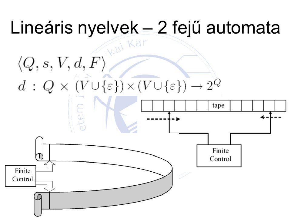 Lineáris nyelvek – 2 fejű automata