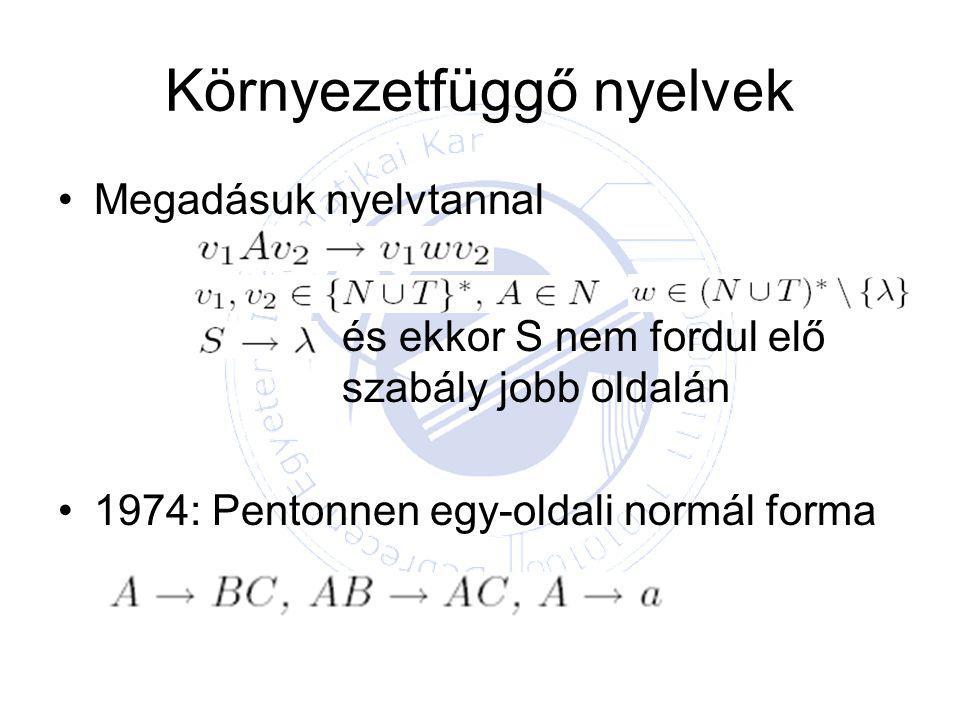Környezetfüggő nyelvek Megadásuk nyelvtannal és ekkor S nem fordul elő szabály jobb oldalán 1974: Pentonnen egy-oldali normál forma