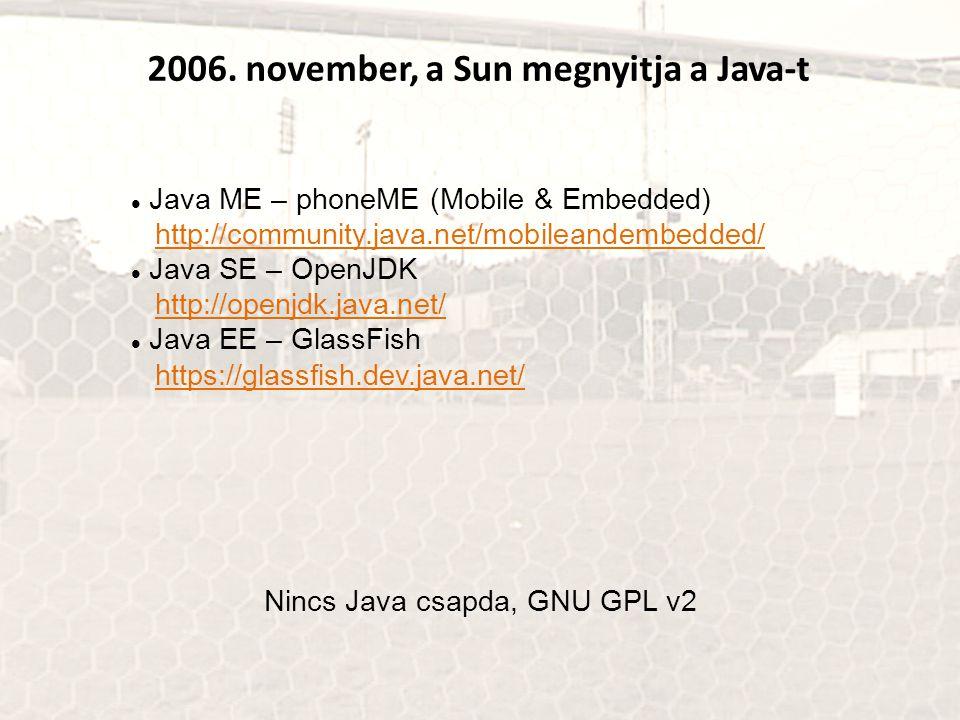 2006. november, a Sun megnyitja a Java-t Java ME – phoneME (Mobile & Embedded) http://community.java.net/mobileandembedded/http://community.java.net/m