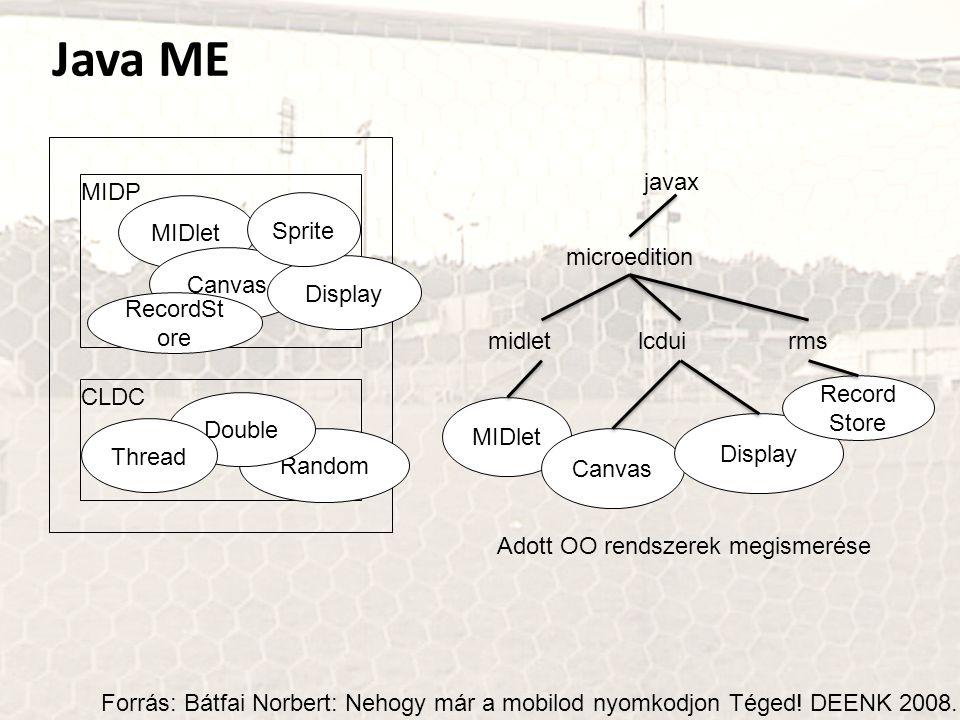 Java ME MIDlet MIDP CLDC Canvas Display Random Double Sprite RecordSt ore Thread Forrás: Bátfai Norbert: Nehogy már a mobilod nyomkodjon Téged! DEENK