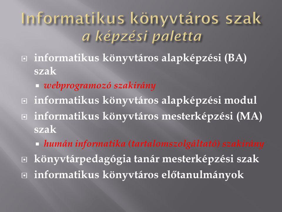  informatikus könyvtáros alapképzési (BA) szak  webprogramozó szakirány  informatikus könyvtáros alapképzési modul  informatikus könyvtáros mesterképzési (MA) szak  humán informatika (tartalomszolgáltató) szakirány  könyvtárpedagógia tanár mesterképzési szak  informatikus könyvtáros előtanulmányok
