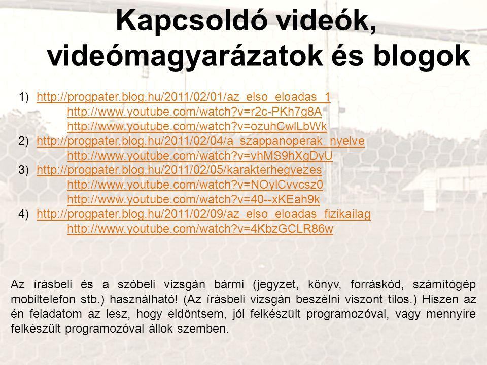 Kapcsoldó videók, videómagyarázatok és blogok 1)http://progpater.blog.hu/2011/02/01/az_elso_eloadas_1 http://www.youtube.com/watch?v=r2c-PKh7g8A http://www.youtube.com/watch?v=ozuhCwlLbWkhttp://progpater.blog.hu/2011/02/01/az_elso_eloadas_1 http://www.youtube.com/watch?v=r2c-PKh7g8A http://www.youtube.com/watch?v=ozuhCwlLbWk 2)http://progpater.blog.hu/2011/02/04/a_szappanoperak_nyelve http://www.youtube.com/watch?v=vhMS9hXgDyUhttp://progpater.blog.hu/2011/02/04/a_szappanoperak_nyelve http://www.youtube.com/watch?v=vhMS9hXgDyU 3)http://progpater.blog.hu/2011/02/05/karakterhegyezes http://www.youtube.com/watch?v=NOylCvvcsz0 http://www.youtube.com/watch?v=40--xKEah9khttp://progpater.blog.hu/2011/02/05/karakterhegyezes http://www.youtube.com/watch?v=NOylCvvcsz0 http://www.youtube.com/watch?v=40--xKEah9k 4)http://progpater.blog.hu/2011/02/09/az_elso_eloadas_fizikailag http://www.youtube.com/watch?v=4KbzGCLR86whttp://progpater.blog.hu/2011/02/09/az_elso_eloadas_fizikailag http://www.youtube.com/watch?v=4KbzGCLR86w Az írásbeli és a szóbeli vizsgán bármi (jegyzet, könyv, forráskód, számítógép mobiltelefon stb.) használható.