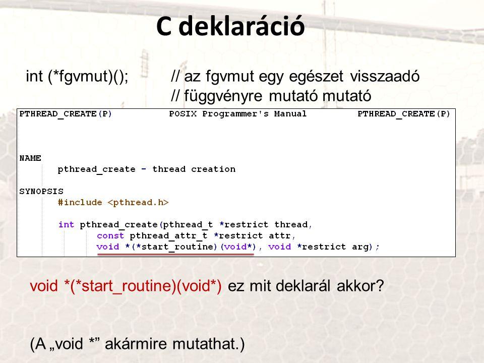 C deklaráció int (*fgvmut)();// az fgvmut egy egészet visszaadó // függvényre mutató mutató void *(*start_routine)(void*) ez mit deklarál akkor.