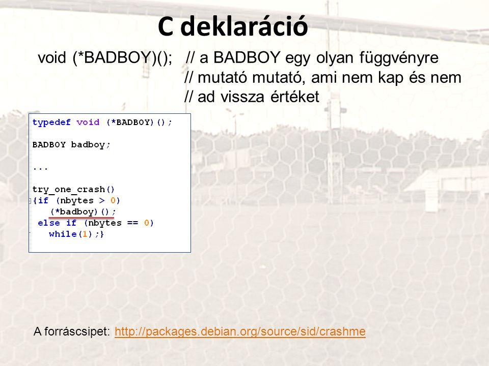 C deklaráció void (*BADBOY)(); // a BADBOY egy olyan függvényre // mutató mutató, ami nem kap és nem // ad vissza értéket A forráscsipet: http://packages.debian.org/source/sid/crashmehttp://packages.debian.org/source/sid/crashme