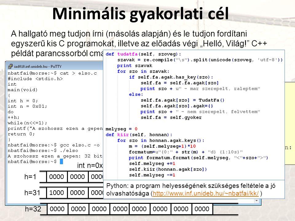 """Minimális elméleti cél 1)A hallgató tudjon értelmezni egy állapotátmenet diagramjával megadott Turing gépet (elmondani, hogy """"a gép ebben az állapotban van, ezt olvassa, akkor átmegy ebbe, ezt írja és ide lép ) 2)Adott egyszerű grammatika esetén ismerje fel, mi a generált nyelv 3)Szintaktikai elemzés fogalmát meg tudja világítani 4)BNF-ben tudjon definiálni egyszerű fogalmakat, például mi egy """"egész szám 5)C nyelv kapcsán: típusok, vezérlési szerkezetek, mutatók, deklarációk, kifejezések, függvények, paraméterátadás"""